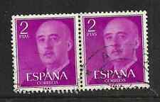 SPAIN POSTAL ISSUE - USED PAIR 2PTS STAMPS - GENERAL FRANCO DEFINITIVE - 1956