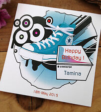 Handmade Personalised Converse Birthday Card Sister Daughter Niece Friend