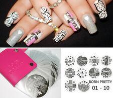11pcs/set Born Pretty Nail Art Stamping Plates with Stamp Plate Holder Manicure