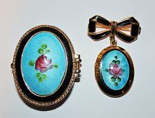 Vintage Blue GUILLOCHE ENAMEL Rose LOCKET PIN and PILL SNUFF BOX SET Mourning