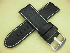 New 26mm Black BUFFALO LEATHER STRAP Watch Band for 47mm PAM 26