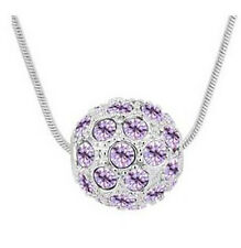 Shamballa Style Silver & Light Purple Crystal Disco Ball Pendant Necklace N133
