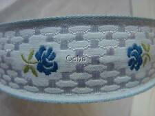 Pale Blue Vintage European Embroidered BLUE Rose Ribbon Lovely Jacquard 1.5""