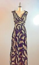 Marchesa Notte Black Bold Feather Motif Gown Dress Full Skirt 34 Bust formal