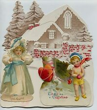 Large Germany Diecut Valentine Girl & Cupid & Snow Covered Cabin & Pine Trees