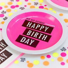 """Happy Birthday"" Pink Paper Plates x 8 - Neon Theme Party - Ginger Ray"