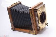 READ*  ICA 13X18, 5x7 WOOD VIEW CAMERA WITH LARGE ANTIQUE SHUTTER, 103MM FLANGE