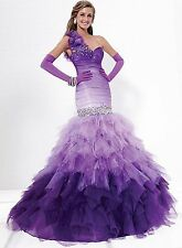 NWT Size 4 Tiffany Designs 16712 Purple Ombre mermaid long formal evening gown