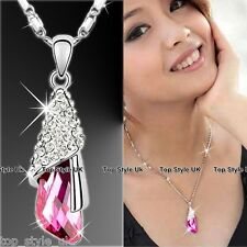 PINK ANGEL WING CRYSTAL DIAMOND NECKLACE UNIQUE PRESENT GIFT FOR HER WIFE GIRL
