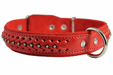 "Quality Braided Studded Real Leather Dog Collar 1.25"" wide 16""-20.5"" neck size"
