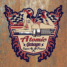 Atomic Garage Hot Rat Rod Sticker Vintage Retro Classic Car Pinup Camper Beetle