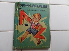 Fun With Letters, 1944, VINTAGE Rand McNally Book, Children's Hardcover