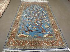 5' X 8' Vintage Hand Made Persian Pictorial Qum Tree Of Life Wool Silk Rug Eagle