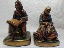 """Pair of Cast Bronze Bookends, """"Darby & Joan"""", Armor Bronzes, 1920's - 1930's"""