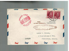 1930 Seville Spain Graf Zeppelin Mail First South America Flight Cover to Brazil