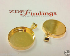 20mm Round Bezel Cup Setting with Bail 14k Gold-filled (PRD20GF)