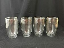 Set of Four New Double Wall Insulted Glass Tumblers