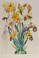 "SALVADOR DALI ""Daffodils of Love"" HAND SIGNED COA Surrealistic Flowers Etching"