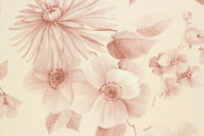 1970's Vintage Wallpaper Pink Flowers on Light Pink