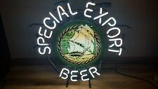 (L@@K) SPECIAL EXPORT OLD STYLE BEER SHIP & WATER NEON LIGHT UP BAR SIGN WI RARE