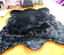 "58"" x 84"" Large Big Plush Black Bear Faux Fur Modern Rug Bearskins Area Rugs"