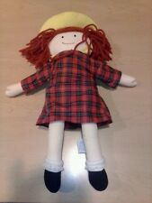 "Madeline Doll Plush red plaid dress & Yellow Hat by Eden Measures 15"" 1994 toy"