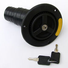 DIESEL INLET 50mm & FILLER CAP BLACK LOCKING 2 KEYS MOTORHOME VAN HORSEBOX