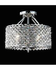 4-Light Modern Round Chrome Crystal Flush Mount Chandelier Pendant