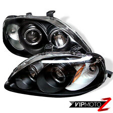 99-00 Honda Civic Si Halo Projector JDM Black Headlight Corner Signal Lamp L+R