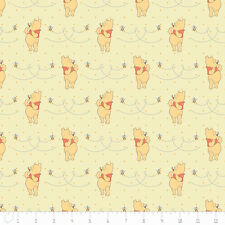 """Camelot Winnie The Pooh Honeybee in Yellow 100% cotton 43"""" fabric by the yard"""