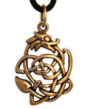 Ketten Anhänger Keltischer Glücksdrache Dagan Drache  Bronze inkl. Band