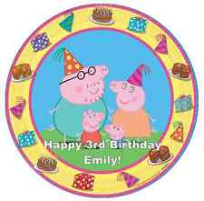 "Peppa Pig And Family Personalised Cake Topper 7.5"" Edible Wafer Paper Birthday's"