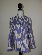 J Crew The Perfect Shirt in Wild Ikat 4 Silk Blend Button Down Sheer Purple EUC