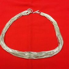 """QUALITY FASHION JEWELRY Sterling Silver 12 Strand Adjustable 20"""" Necklace"""
