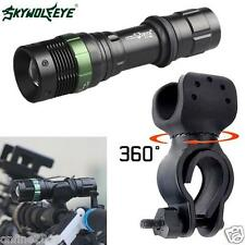 5000LM CREE XML T6 LED Zoomable Flashlight Bicycle 360°Mount Clip Lamp Легкий