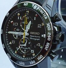 SEIKO SPORTURA BRAND NEW MEN'S QUARTZ LEATHER CHRONO/ALARM WATCH SNAE67/SNAE67P1