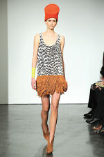 Sass & Bide The History Maker Suede Silk Dress w Suede Leather Fringe Skirt 6 S