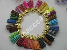 45pcs of Mix Colors Leather Tassel with Gold Caps Cell Phone Straps/DIY Charms