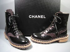 "CHANEL BLACK LACE UP ""CC"" SILVER CHAIN MOTORCYCLE BIKER ANKLE BOOTS 38/8 NEW"