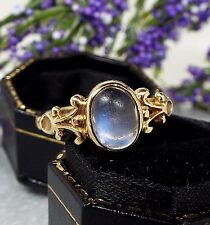 Vintage 1982 9ct Yellow Gold Ornate Blue Oval Moonstone Cabochon Ring / Size Q