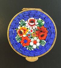 Vintage Italian Micro Mosaic Blue Oval Gold Tone Pill Box