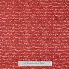 Heart Strings Fabric - Valentine's Day Words Love Red - Henry Glass Cotton YARD