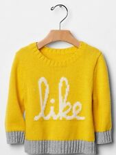 """GAP Baby / Toddler Boy Size 6-12 Months NWT Yellow """"Like"""" Intarsia Sweater Top"""