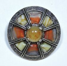 Vintage MIRACLE Scottish Glass Agate Pebble Kilt Brooch Pin  JN16931