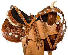 14 15 16 WESTERN BARREL RACER RACING TAN LEATHER PLEASURE SHOW SADDLE TACK SET