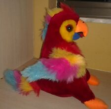 Plush Red Parrot with Multi colored feathers