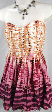 FOREVER 21 XXI PINK FLORAL STRAPLESS SHORT PARTY COCKTAIL DRESS LARGE L A26