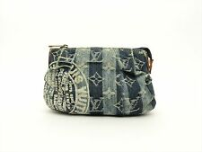 Louis Vuitton Authentic Monogram Denim Blue Trousse Raye POUCH Cosmetic Bag LV