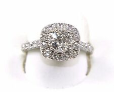 Fine Round Cluster Diamond Ring Band w/Halo & Accents 14k White Gold 1.52Ct