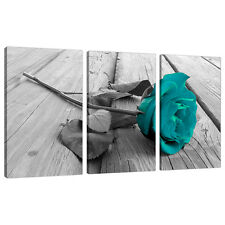 Set di 3 Teal FLORAL CANVAS Wall Art Foto Nero Bianco Stampa 3037